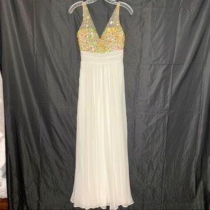 STUNNING white evening gown with rhinestones!